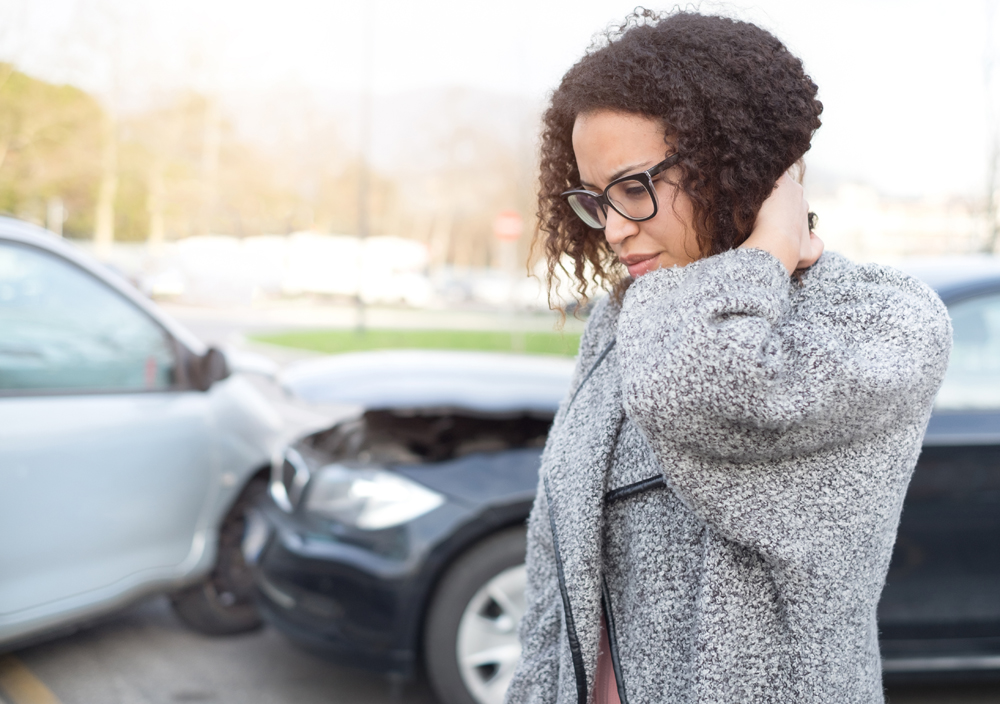 Woman suffering from an auto accident injury